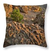 Ripple Boulders At Sunset In Bentonite Quarry Throw Pillow