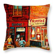 Ripples Ice Cream Factory Throw Pillow