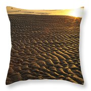 Ripples In The Sand Low Tide Golden Sunset Throw Pillow
