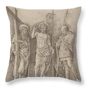 Risen Christ Between Saints Andrew And Longinus Throw Pillow