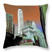 Rising High - New York Wall Street Skyline Throw Pillow