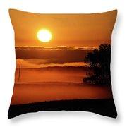 Rising Sun Lighting Ground Fog Throw Pillow