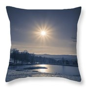 Rising Sun On A Cold Winter Morning Throw Pillow