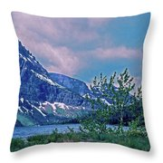 Rising Wolf Mountain And Two Medicine Lake Throw Pillow