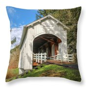 Ritner Creek Covered Bridge 0739 Throw Pillow