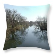 River At Marston On Dove Throw Pillow