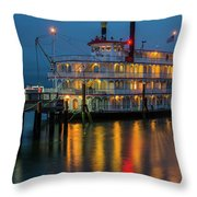 River Boat At Dusk Throw Pillow