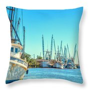 Darien Shrimp Boats Throw Pillow