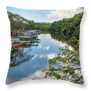 River Boats Docked Throw Pillow