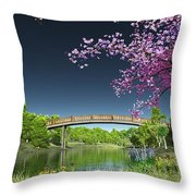 River Bridge Cherry Tree Blosson Throw Pillow