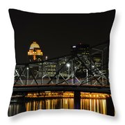 Ohio River Bridges And Louisville Skyline Throw Pillow