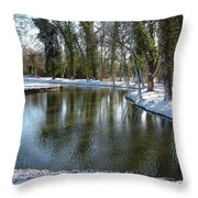 River Cherwell Meandering Through Christ Church Meadows Oxford Uk. Throw Pillow by Mike Lester