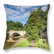 River Coquet Flows Under Warkworth Bridge Throw Pillow