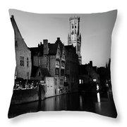 River Dijver And The Belfort At Night, Rozenhoedkaai, Bruges Throw Pillow