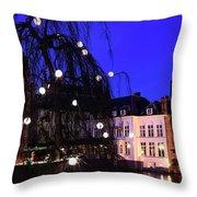 River Dijver, Rozenhoedkaai Area At Night, Bruges City Throw Pillow