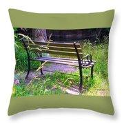 River Fishing Bench Throw Pillow