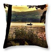 River Fishing  Throw Pillow