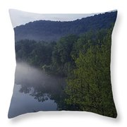 River Flowing In A Forest Throw Pillow
