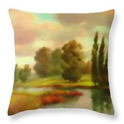 River Flowing Through The Landscape H B Throw Pillow