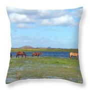 River Horses Horizon Throw Pillow