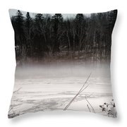 River Ice And Steam Throw Pillow