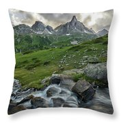 River In The French Alps Throw Pillow