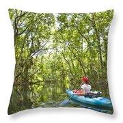 River Kayak Throw Pillow