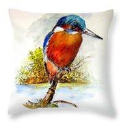 River Kingfisher Throw Pillow