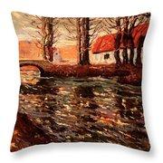 River Landscape Throw Pillow