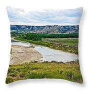 River Landscape In Northwest North Dakota  Throw Pillow