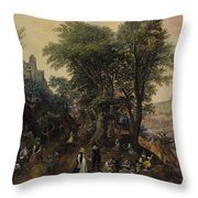 River Landscape In The Spring With Castle And Noblemen Throw Pillow