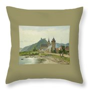 River Landscape Of The Rhine Throw Pillow