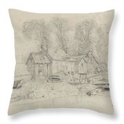 River Landscape With Buildings, Boats, And Figures Throw Pillow