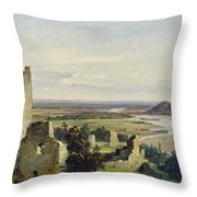 River Landscape With Castle Ruins Throw Pillow