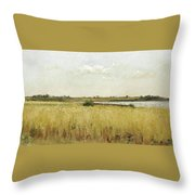 River Landscape With Cornfield Throw Pillow