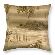 River Landscape With Fireflies  Throw Pillow