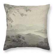 River Landscape With Ruins Throw Pillow