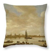 River Landscape With View Of Vianen Throw Pillow