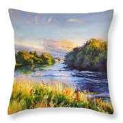 River Moy At Ballina Throw Pillow