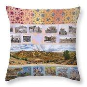 River Mural Autumn Panel Top Half Throw Pillow