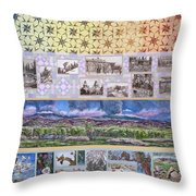 River Mural Summer Panel Top Half Throw Pillow