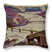 River Of Industry Throw Pillow