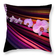 River Of Orchids Throw Pillow