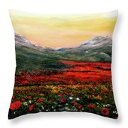 River Of Poppies Throw Pillow