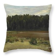River On The Edge Of A Wood Throw Pillow