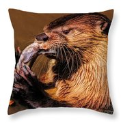 River Otter With His Catch Of The Day Throw Pillow