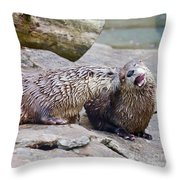 River Otters Throw Pillow