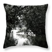 River Passage In Black And White Throw Pillow