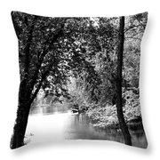 River Passage Through Trees Throw Pillow