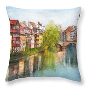 River Pegnitz In Nuremberg Old Town Germany Throw Pillow